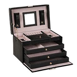 Vue de 3/4 de la boîte à bijoux en cuir noir (ouverte)