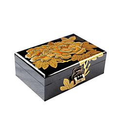 vue de 3/4 de la boîte à bijoux originale 'or & jais' (fermée)