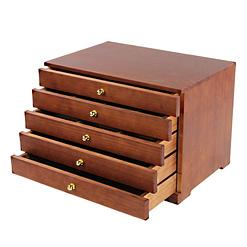 Vue de 3/4 de la boîte à bijoux à 5 tiroirs, ouverte