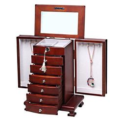 Vue de 3/4 de la grande boîte à bijoux tiroirs et portes, ouverte