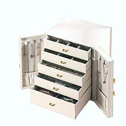 Vue de 3/4 de la boîte à bijoux avec portes cuir blanc (ouverte)