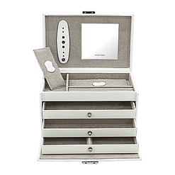 Vue de face de la boîte à bijoux en cuir blanc 3 tiroirs (ouverte)