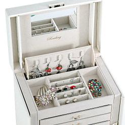 Plateau supérieur de la boîte à bijoux cuir blanc 6 tiroirs porte-bagues