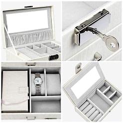 Collage de 4 photos présentant les détails de la boîte à bijoux en cuir blanc avec écrin