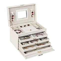 Vue de 3/4 de la boîte à bijoux en cuir à 4 tiroirs blanc (ouverte avec bijoux)