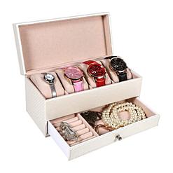 Vue de 3/4 de la boîte à bijoux en cuir zébrée blanc ouverte, avec bijoux et montres