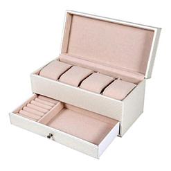 Vue de 3/4 de la boîte à bijoux en cuir zébrée blanc ouverte