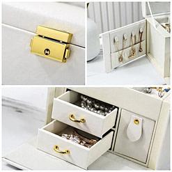 3 photos de détails de la boîte à bijoux en cuir blanc '2 tiroirs et porte-bagues'