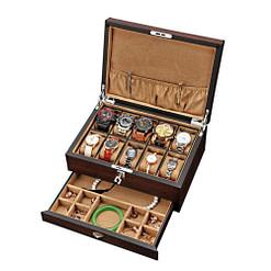 Vue de 3/4 de la boîte à bijoux pour homme (ouverte, avec bijoux)