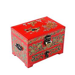 Vue de 3/4 de la boîte à bijoux originale 'canards mandarins' (fermée)