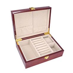 Vue de 3/4 de la boîte à bijoux en bois classique (compartiment)