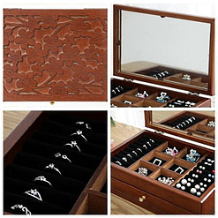 Collage de 4 photos de détails de la boîte à bijoux en bois fleurs et tiroirs