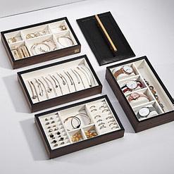 Plateaux-compartiments de la boîte à bijoux en bois 'quadri compartiments'