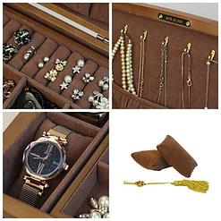 Collage de 4 photos présentant les détails de la boîte à bijoux en bois 'vintage marron'