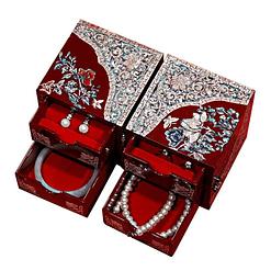 Vue de 3/4 de la boîte à bijoux originale '2 cubes rouges' (ouverte, avec tiroirs ouverts)