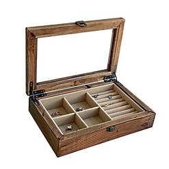 Vue de 3/4 de la boîte à bijoux en bois 'rustique' (ouverte, avec bijoux)