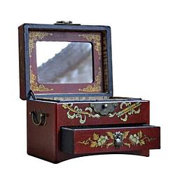 Vue de 3/4 de la boîte à bijoux originale à tiroir (ouverte)