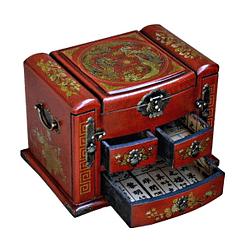 Vue de 3/4 de la boîte à bijoux originale à tiroirs verticaux (compartiments ouverts)