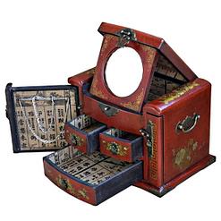 Vue de 3/4 de la boîte à bijoux originale à tiroirs verticaux (compartiments et miroir ouverts)
