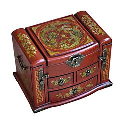 Vue de 3/4 de la boîte à bijoux originale à tiroirs verticaux