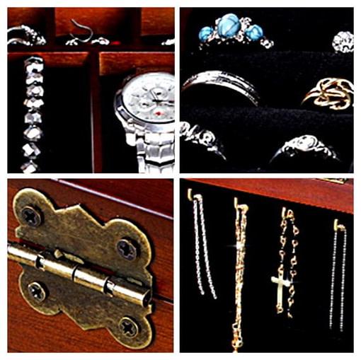 Collage de 4 photos de détails (charnière, compartiments...) ancienne