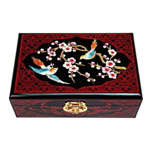 Dessus de la boîte représentant 2 oiseaux dans un cerisier en fleurs