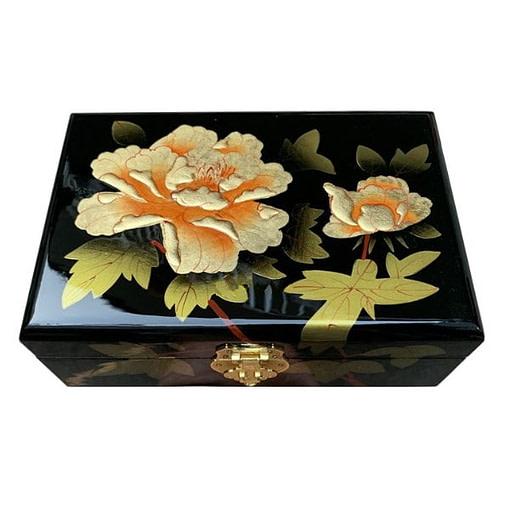 Dessus de la boîte représentant 2 fleurs de pivoine jaune