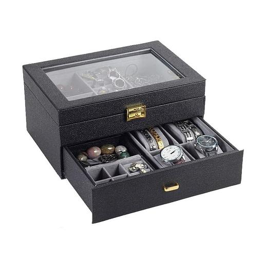 Vue de 3/4 de la boîte à bijoux en cuir grainé (tiroir ouvert))