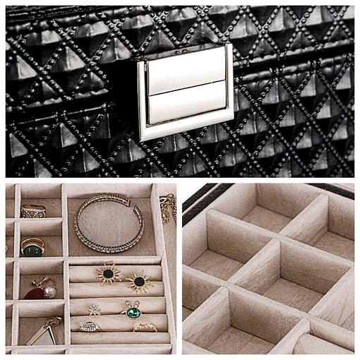 Collage de 3 photos montrant les détails de la boîte (fermoir et compartiments)