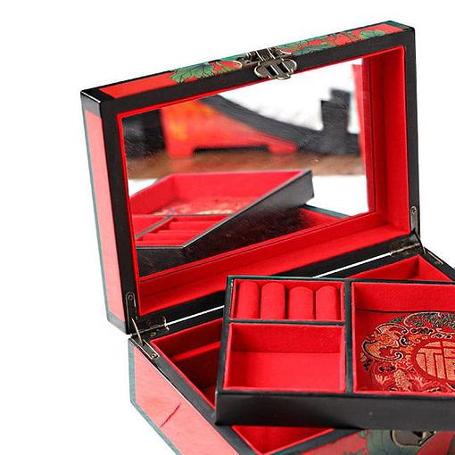 Boîte '2 Pivoines' ouverte présentant miroir et plateau amovible