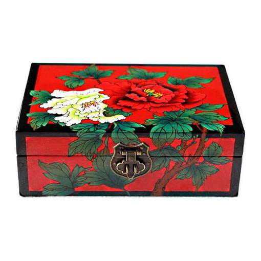 Dessus de la boîte : 2 fleurs de pivoine (blanche & rouge) sont peintes sur un fond rouge