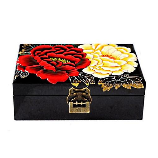 Dessus de la boîte représentant 2 fleurs (blanche et rouge) d'un begonia sur fond noir