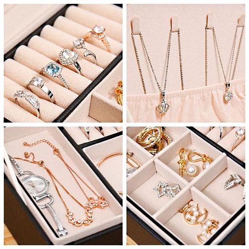 Collage de 4 photos détaillant l'intérieur de la boîte à bijoux aspect cuir