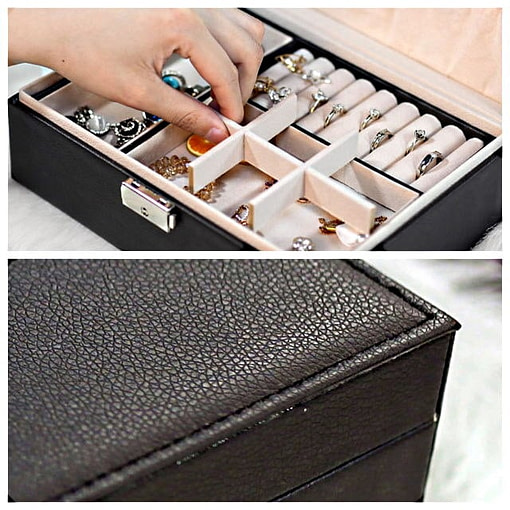 2 photos présentant intérieur et extérieur de la boîte à bijoux aspect cuir
