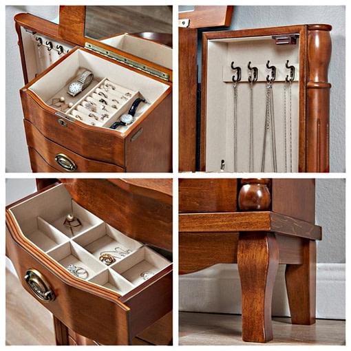 collage de 4 photos détaillant compartiments (portes, tiroirs) et pied de la boîte