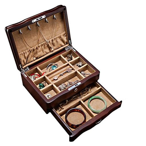 Vue de 3/4 de la boîte à bijoux de luxe à tiroir (avec tiroir ouvert)