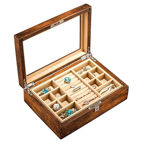 Vue de 3/4 de la boîte à bijoux en bois transparente (ouverte avec bijoux)