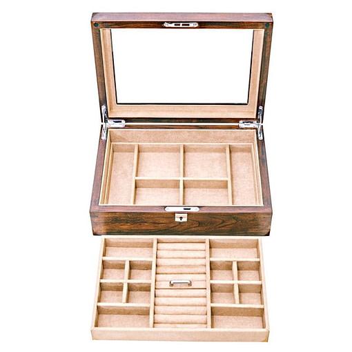 Vue du plateau amovible de la boîte à bijoux en bois transparente (sans bijoux)