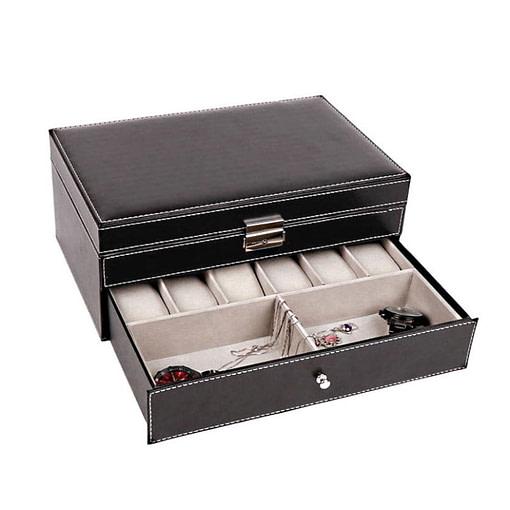 Vue de 3/4 de la boîte à bijoux en cuir pour montres à tiroir (tiroir ouvert)