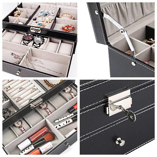 Collage de 4 photos détaillant la boîte à bijoux en cuir pour montres à tiroir (fermoir, compartiments et charnière)