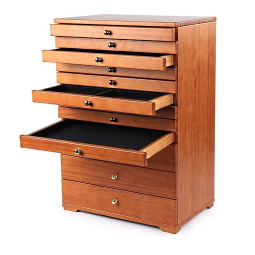 Vue de 3/4 de la grande boîte à bijoux à 12 tiroirs (4 entrouverts)