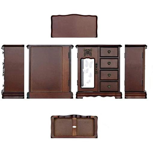 Ensemble des vues possibles (dessus, dessous, côtés...) de la grande boîte à bijoux avec vitre et tiroirs