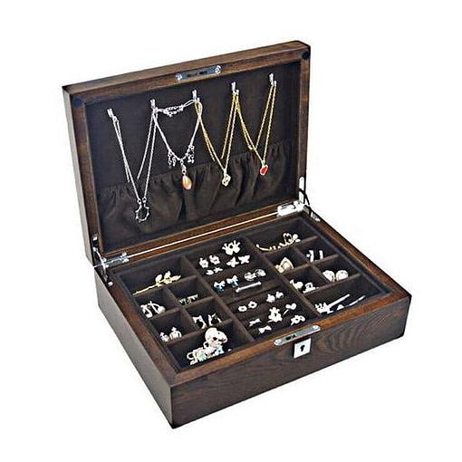 Vue de 3/4 de la boîte à bijoux en bois compartimentée (ouverte, avec bijoux)