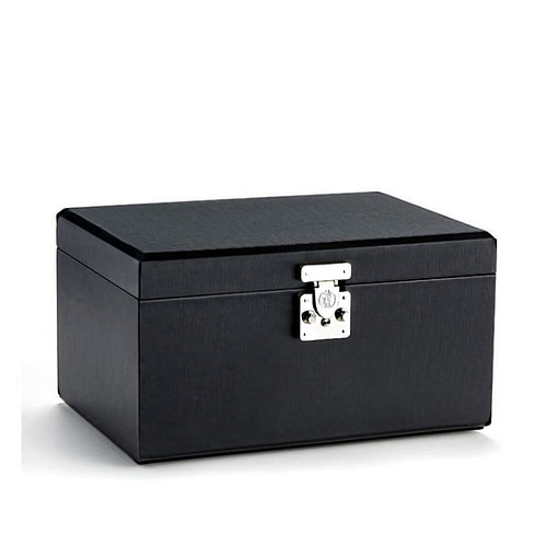 Vue de 3/4 de la boîte à bijoux en cuir modulable (fermée)