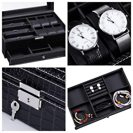 Collage de 4 photos montrant des détails de la boîte à bijoux en cuir pour lunettes et montres (compartiments, plateaux et fermoirs)