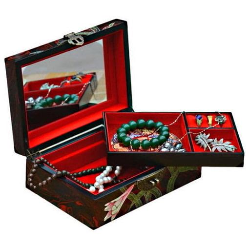 Vue de 3/4 de la boîte à bijoux originale 'orchidée' (ouverte)