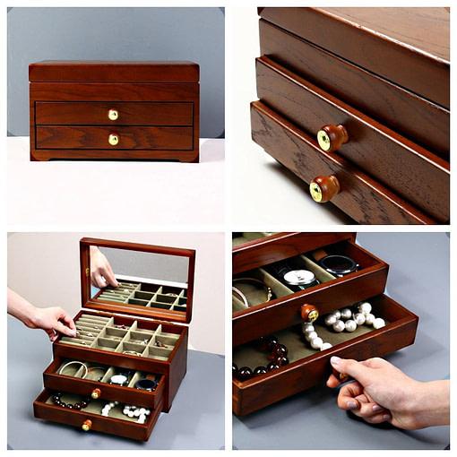 Collage de 4 photos présentant la boîte à bijoux en bois avec miroir (extérieur et compartiments)
