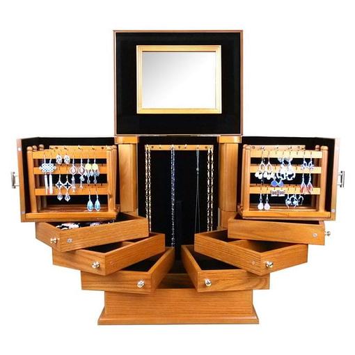 Vue de face de la grande boîte à bijoux en bois exotique (ouverte)