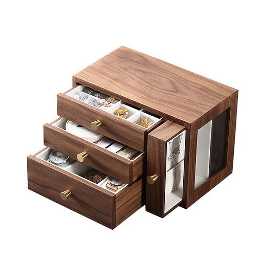Vue de 3/4 de la boîte à bijoux en bois à tiroir vertical (ouverte)