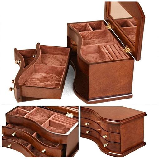 Collage de 3 photos détaillant la boîte à bijoux en bois 'tendance'